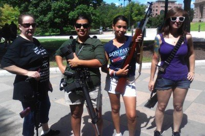 Open carry activists lawfully exercising their right to bear arms.  (Photo: NoxandFriends)
