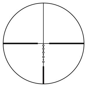 The reticle, compared to many of the long range reticles, is deceptively simple. Each circle represents a known distance--out to 600 yards.