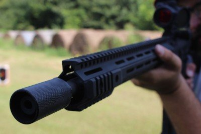 The look of a long thin forend will make a gun like this, which has a 16.5 in ch barrel, look stretched out.