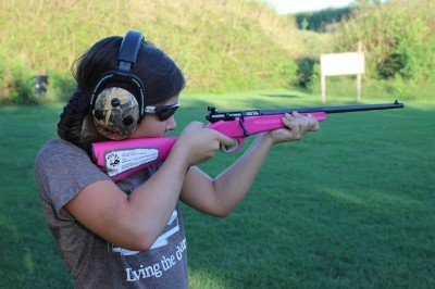 After handling the .308, she wasn't impressed with the .22.