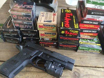 I tested a wide variety of 9mm practice and defense ammo, all with the Crimson Trace Rail Master Pro mounted. The rail device did not have any impact on function.
