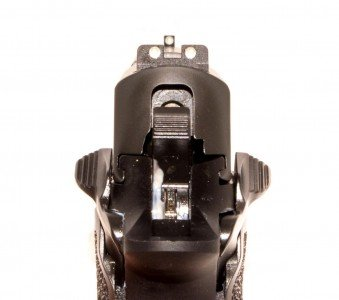 The safety levers are identical on both sides. As you can see, the Sig Lite sights are plenty clear in the daytime too.