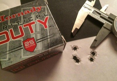 This pistol really liked Hornady Critical Duty 135 grain ammo - this 5-shot, 25-yard group measured just .97 inches.