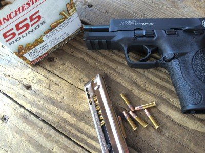 The M&P22 Compact ate plenty of Winchester white box bulk ammo. I've had reliability troubles with a number of other .22s using this particular ammo, but the M&P22c didn't seem to care.