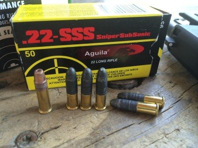 The pistol shot this Aguila .22-SSS Sniper Subsonic pretty well too, and it's very unusual ammo for a semi-automatic to digest.
