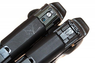 The original M&P22 rear sight (top) and Compact (bottom)