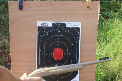 I obviously need to adjust the rear sight. With no riser, I'm shooting way high from 25 yards.