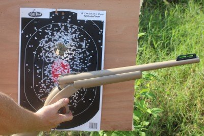 From 7 yards, the shotgun is performing much better. How well with the sight work when we run rifle rounds through the shotgun? Time will tell.
