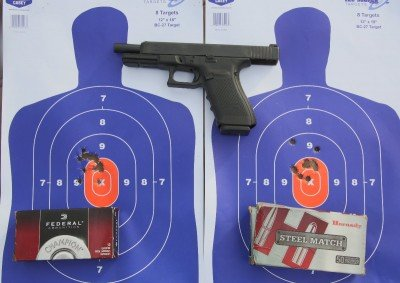 We tested the gun a lot with Federal ammo available at Walmart, and Hornady Steel Match, another inexpensive ammo for competition.
