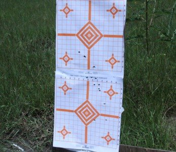 The SVT started out really really really really poor in the accuracy department. This was the group with point of aim at the middle of the top orange diamond.