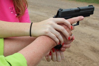Teaching a seasoned revolver shooter (and a black powder shooter, at that) how to modify her grip is easier to do in person.
