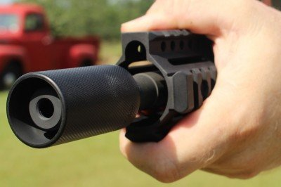 When you reach out on the forend, you run the risk of reaching too far, but less so with the sleeve installed.