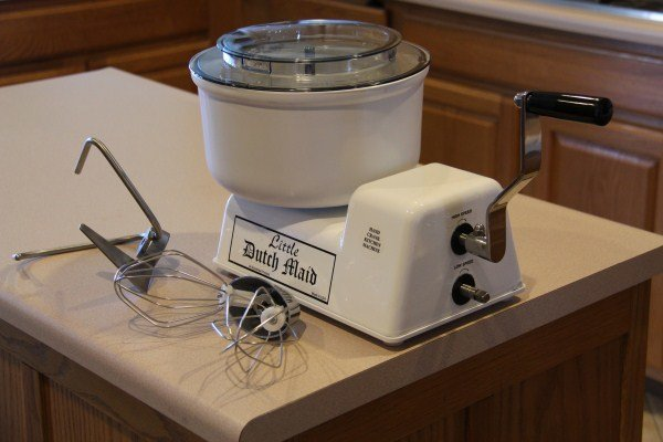 The Little Dutch Maid mixer is an old product that has been produced for a generation. It is made by the Amish, and is popular not just in the off grid market, but also by fans of the local fair cookoff.