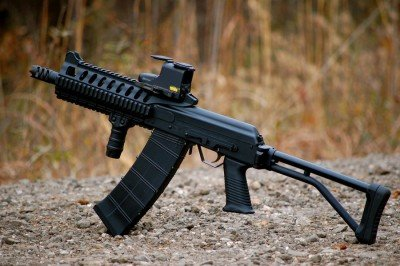 The compact size of a short barreled Saiga 12 is great for the close quarters of the swamp.