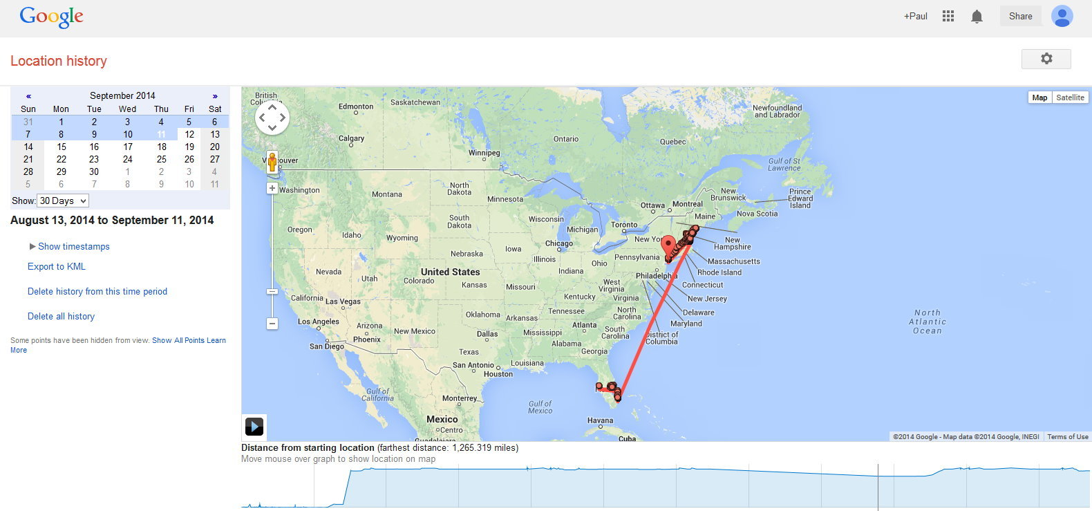 I decided to test the Google Location History feature over the course of a month. It did correctly identify that I spent time in Florida then flew to the North East.