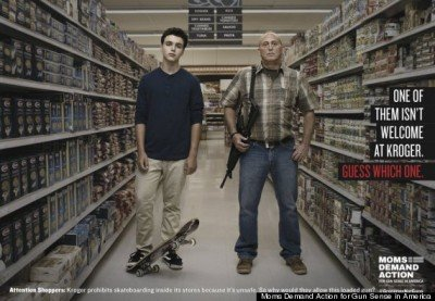 Teen with skateboard next to man openly carrying. (Photo: Everytown)