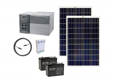 "This is the ""other"" system that we bought and that hasn't been set up yet. It is a complete ""solar generator"" from EarthTech. There are advantages to this approach but you will pay roughly twice the cost per watt."
