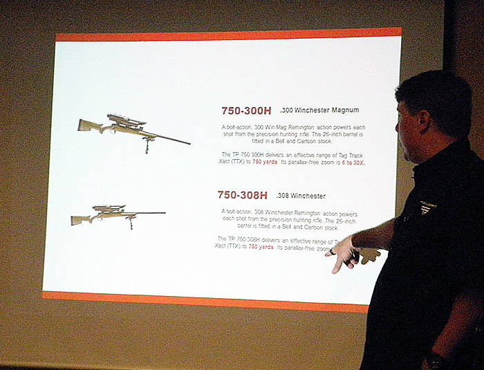 Scott Calvin presented the key features of each of the TrackingPoint models.