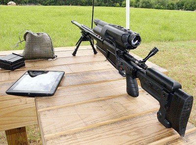 The XS1 .338 Lapua Magnum is the biggest and most powerful TrackingPoint Precision Guided Rifle (PGR). The wire on the left side of the scope ties the ballistics computer to the guided trigger.