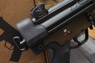 The rear cap comews standard on the pistols, though they are easy to remove, which makes adding the brace easy.