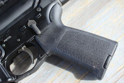 Along with some of the other upgrades, the MK107P comes with a Magpul grip.