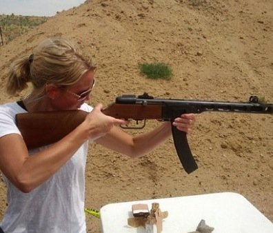 Thompson having some fun at the range. (Photo: Human Events)