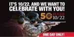 Wednesday is 10/22 Day. Free guns!