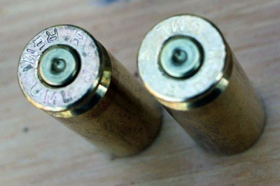 The cases look a lot like .45 acp that has been stretched out, or a .308 that's been cut down.
