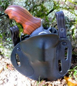 This Simply Rugged Sourdough pancake holster has multiple belt slots and can be ordered with IWB straps.