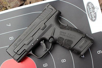 The new XD, with the original grip extension is very easy to hold.