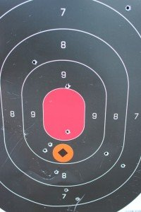 This is the target from 300 yards. I'd aimed for the orange dot. It took me a few shots to find the hold over.