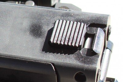 The latch that holds the stock open is fat and secure.