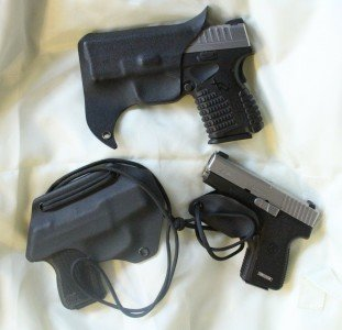 These are the three products I have tried from Armored Carry, which used to be called Double Tap Holsters. The top is a pocket holster, the left is the neck holster, and on the right is the trigger guard shield with a lanyard.