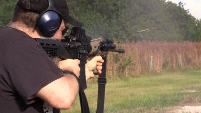 The Bump Fire Systems bumpstock worked really well.  This is a screen cap from the video with several rounds of brass visibly in the air. If you haven't taken the bump stock plunge, this is the cheapest we've seen, and it works.