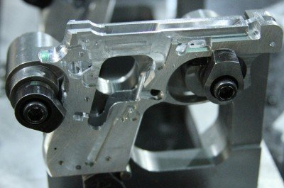 This is a closeup of the gun with the primary cuts and holes.