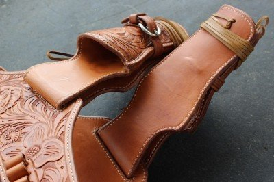 Even the back of the belt and inside of the holster are lined with grain-out leather.