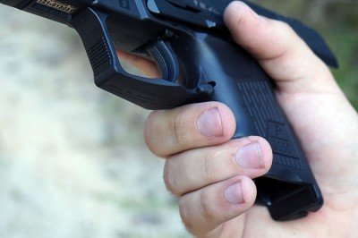 Getting a hold on the small grip isn't easy--but it isn't easy on any sub compact.