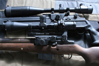 I initially tested the SOCOM with the UTG mount. It wasn't within the elevation adjustment to zero the scope at 100 yards. The mount is very low and I used low profile rings. You would have to put the scope higher.