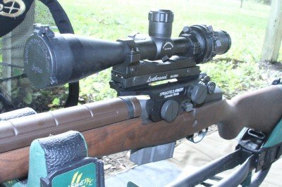 The M1A's most classic scope is the Leatherwood, a copy of which we have recently reviewed. It is a cumbersome scope but really nifty, and not expensive right now.