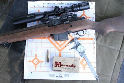 I tested for accuracy with a couple different types of ammo. I could shoot this Hornady 168 grain Match .308 into just under 1.5 MOA reliably and repeatably.