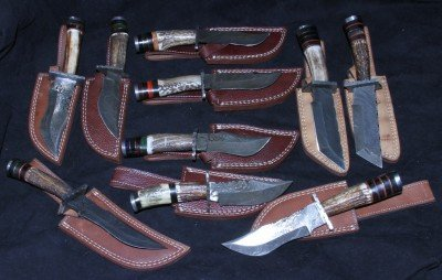 This collection of small belt knives was spread over two ads, for $139 and $129, plus a total of $50 shipping. These arrived a month later, probably because the seller had not made the sheaths yet.  This is an overall cost of less than $30 per knife, for what you would pay $75-$150 for at a gun or knife show.