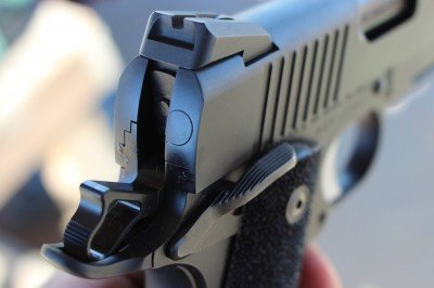 The rear sight on the Guardian.