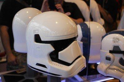 An Episode Seven Storm Trooper helmet made of steel.