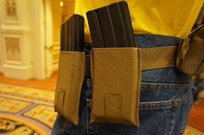 With these on your hip, mags can easily be hidden beneath the tail of a coat.