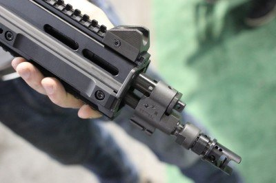 The front sight is the same on in use on the Scorpion.