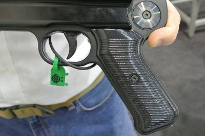 In pistol configuration. The stock goes on the round spot.