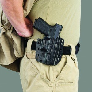 The Galco Corvus configured as an outside-the-waistband holster.