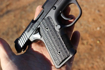 The checkered micarta grips provide good traction.