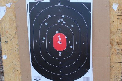 Several magazines shot in rapid succesion, each from 15 yards. Draw, point shoot two rounds, reholster. Rinse, repeat.
