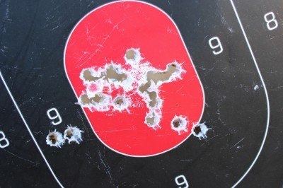 Low recoil makes shooting fast much more consistent. This is a mag dump from 50 yards.